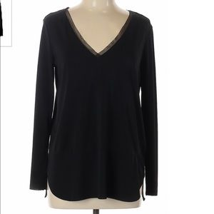 Zara W&B Black Long Sleeve Top with Mesh Detail